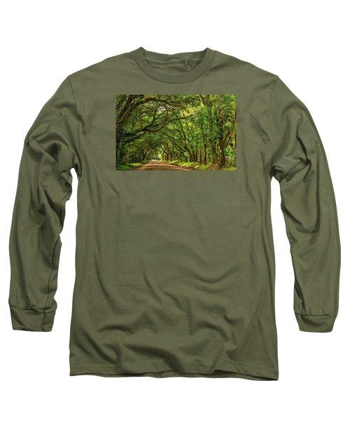 Botany Bay Edisto Island South Carolina Road Light And Shadow Long Sleeve T-Shirt