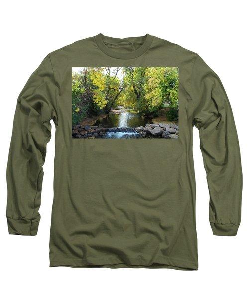 Boulder Creek Tumbling Through Early Fall Foliage Long Sleeve T-Shirt