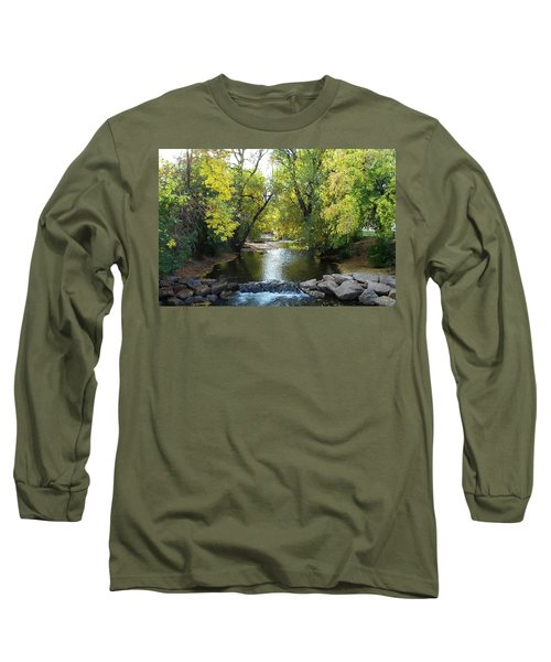 Boulder Creek Tumbling Through Early Fall Foliage Long Sleeve T-Shirt