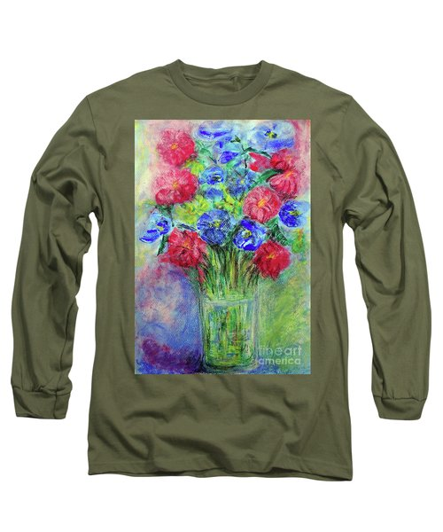 Long Sleeve T-Shirt featuring the painting Bouquet by Jasna Dragun