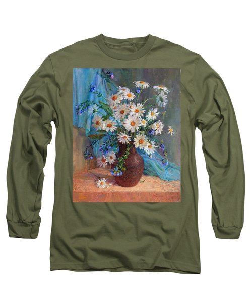 Bouquet Of Daisies In A Vase From Clay Long Sleeve T-Shirt