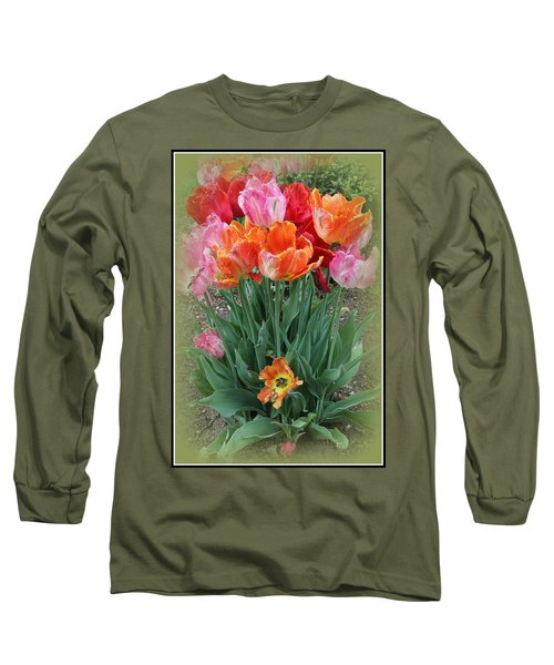 Bouquet Of Colorful Tulips Long Sleeve T-Shirt by Dora Sofia Caputo Photographic Art and Design