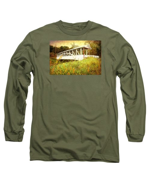 Long Sleeve T-Shirt featuring the photograph Bowser Covered Bridge by Trina  Ansel