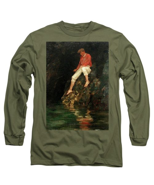 Long Sleeve T-Shirt featuring the painting Boy Fishing On Rocks  by Henry Scott Tuke