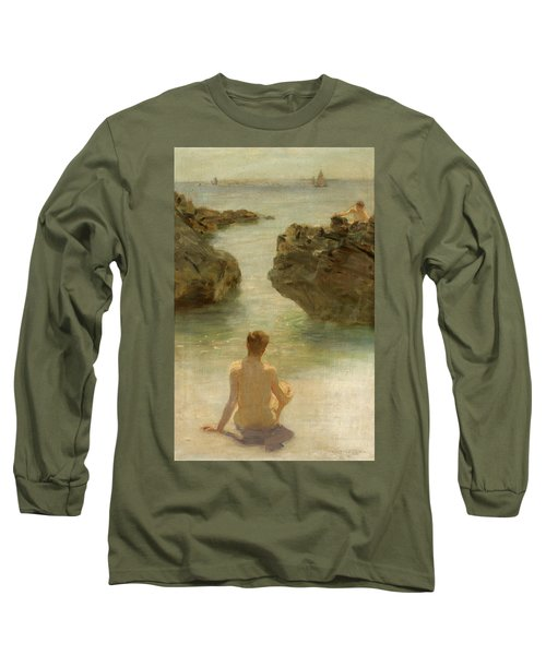 Long Sleeve T-Shirt featuring the painting Boy On A Beach, 1901 by Henry Scott Tuke