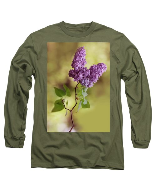 Long Sleeve T-Shirt featuring the photograph Branch Of Fresh Violet Lilac by Jaroslaw Blaminsky