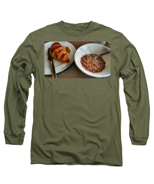 Breakfast Of Cereal And Croissant Long Sleeve T-Shirt by Isabella F Abbie Shores FRSA