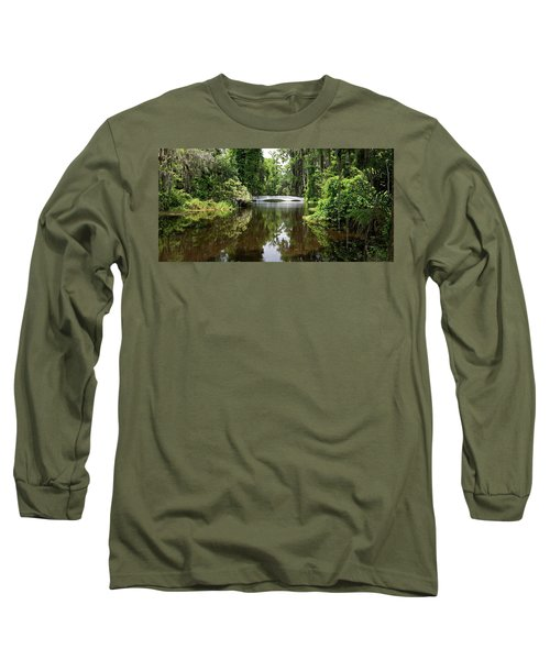 Long Sleeve T-Shirt featuring the photograph Bridge In The Garden by Sandy Keeton