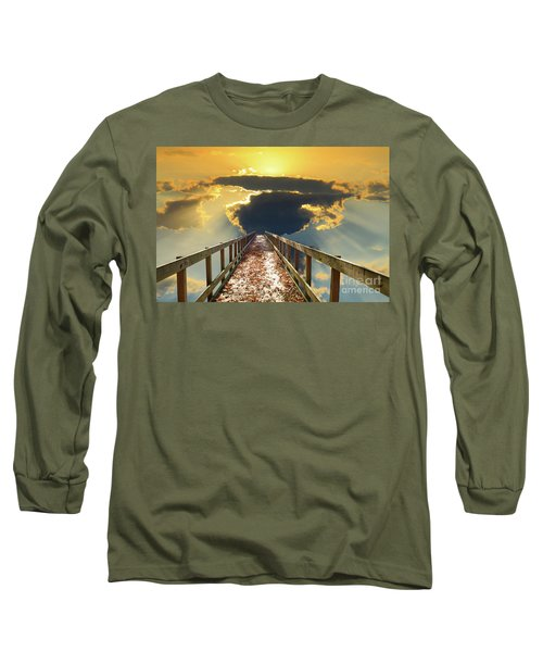 Bridge Into Sunset Long Sleeve T-Shirt by Inspirational Photo Creations Audrey Woods