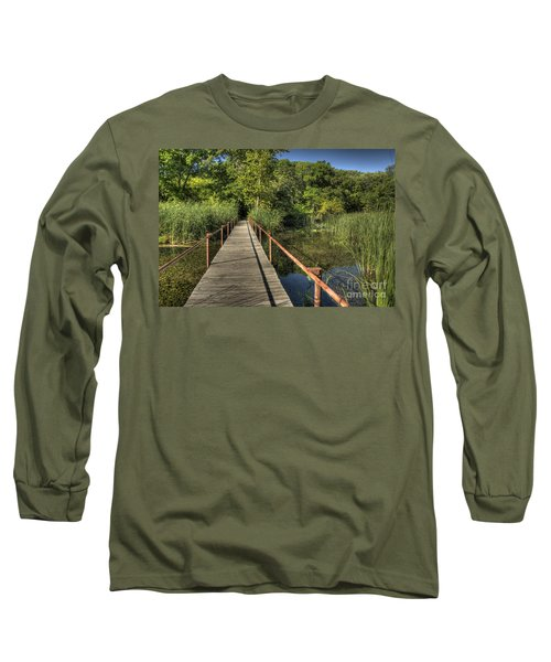 Long Sleeve T-Shirt featuring the photograph Bridge Into The Forest At Lake Murray by Tamyra Ayles