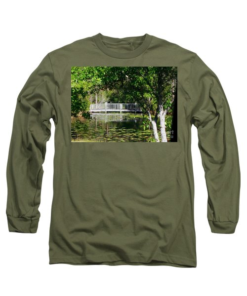 Long Sleeve T-Shirt featuring the photograph Bridge On Lilly Pond by Lori Mellen-Pagliaro
