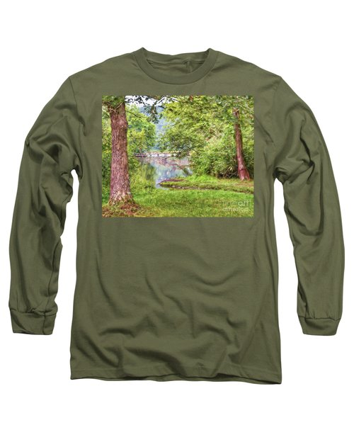 Long Sleeve T-Shirt featuring the photograph Bridge Through The Trees - Impasto Style Art by Kerri Farley