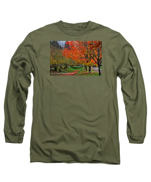 Long Sleeve T-Shirt featuring the digital art Bright Orange Fall Colors by Kirt Tisdale