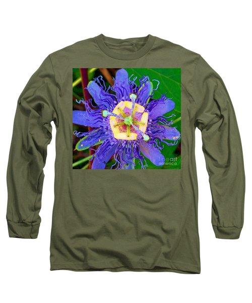 Brilliant Blue Flower Long Sleeve T-Shirt