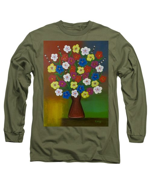Brilliant Bouquet Long Sleeve T-Shirt by Teresa Wing