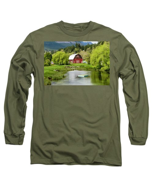 Brinnon Washington Barn By Pond Long Sleeve T-Shirt by Teri Virbickis