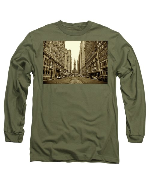 Long Sleeve T-Shirt featuring the photograph Broad Street Facing Philadelphia City Hall In Sepia by Bill Cannon