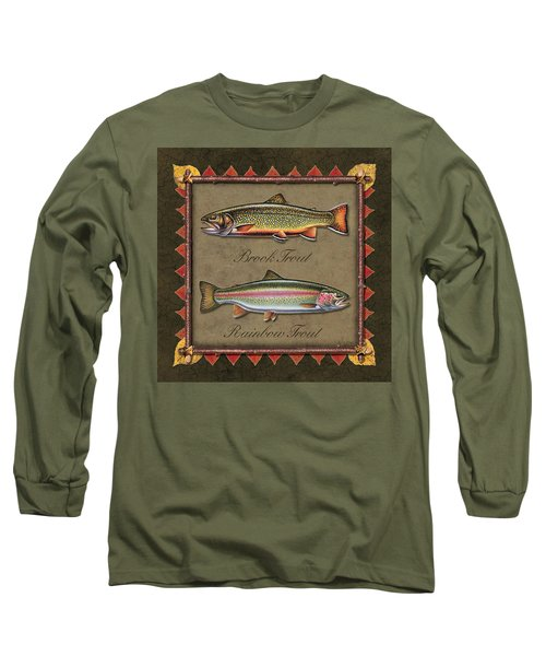 Brook And Rainbow Trout Long Sleeve T-Shirt by JQ Licensing