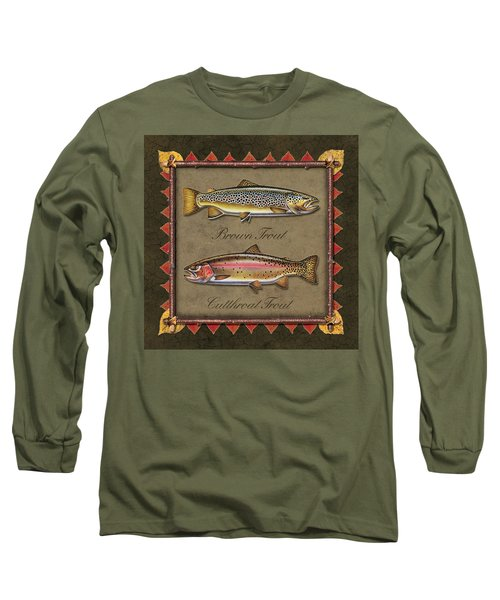 Brown And Cutthroat Trout Long Sleeve T-Shirt by JQ Licensing
