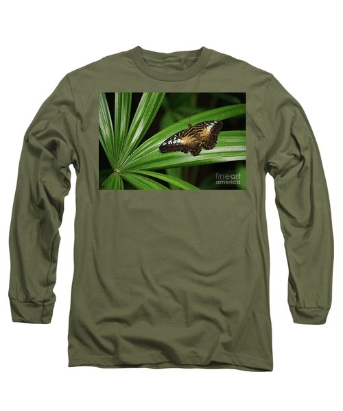 Brown Clipper Butterfly -parthenos Sylvia- On Frond Long Sleeve T-Shirt