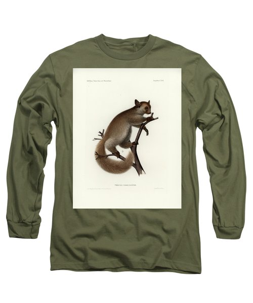 Brown Greater Galago Or Thick-tailed Bushbaby Long Sleeve T-Shirt by Hugo Troschel and J D L Franz Wagner