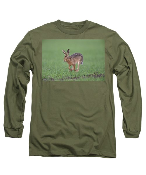 Brown Hare Running Long Sleeve T-Shirt