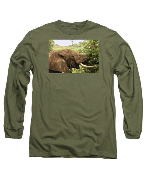 Long Sleeve T-Shirt featuring the photograph Browsing Elephant by Gary Hall