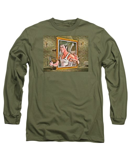 Long Sleeve T-Shirt featuring the painting Night At The Art Gallery - Bruce Awakes by Wayne Pascall