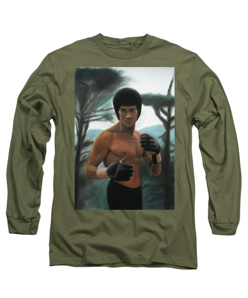 Bruce Lee - The Concentration  Long Sleeve T-Shirt by Vishvesh Tadsare