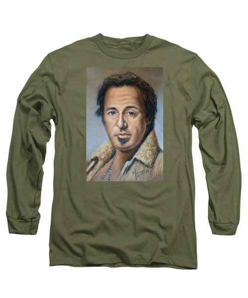 Bruce Springsteen Portrait Long Sleeve T-Shirt by Melinda Saminski