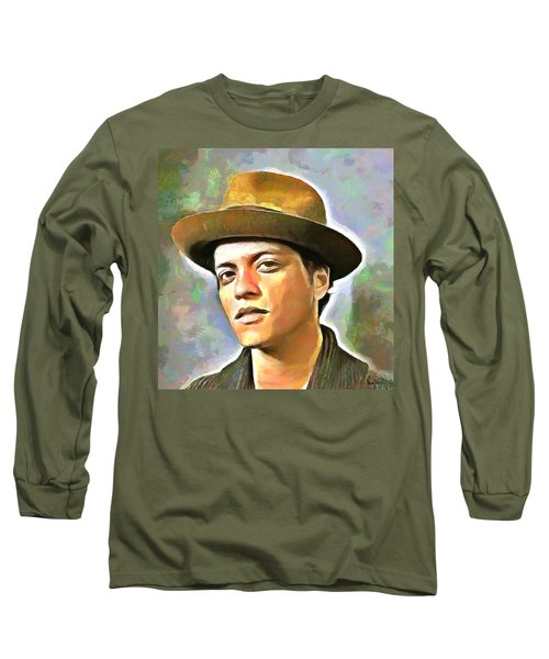 Bruno Mars Long Sleeve T-Shirt by Wayne Pascall