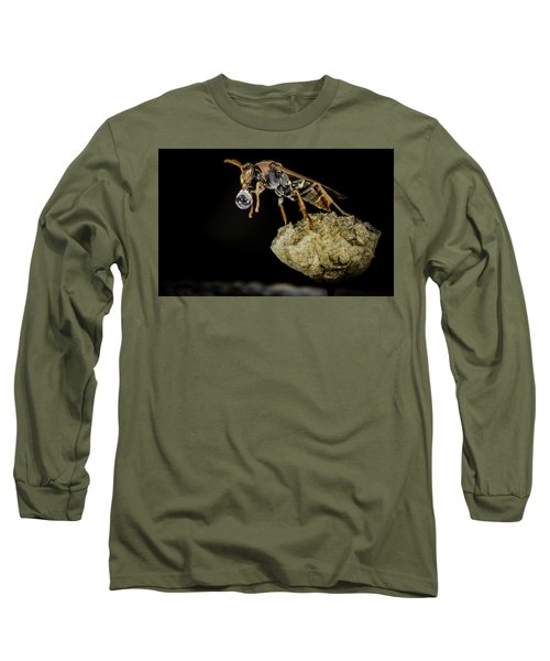 Long Sleeve T-Shirt featuring the photograph Bubble Blowing Wasp by Chris Cousins