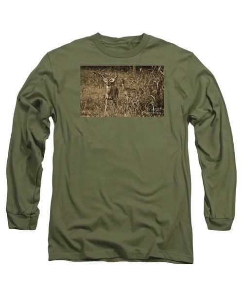 Buck And Doe In Sepia Long Sleeve T-Shirt