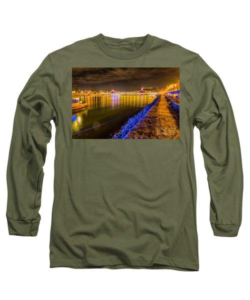 Long Sleeve T-Shirt featuring the photograph Budapest At Night Lanchid Chain Bridge by Jivko Nakev