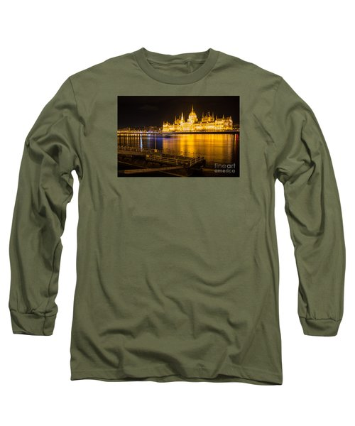 Long Sleeve T-Shirt featuring the photograph Budapest Night View Parliament by Jivko Nakev