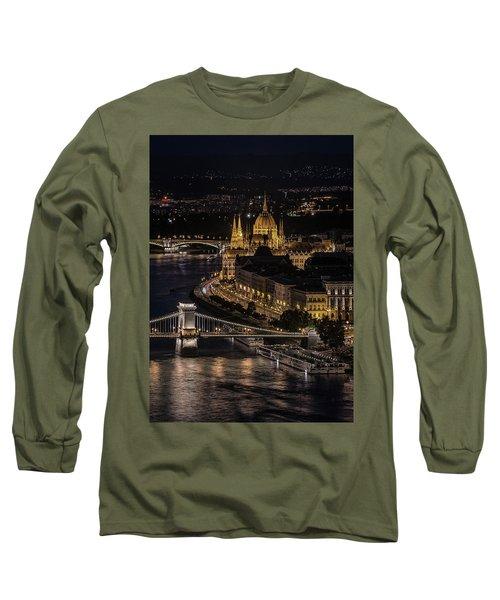 Budapest View At Night Long Sleeve T-Shirt by Jaroslaw Blaminsky