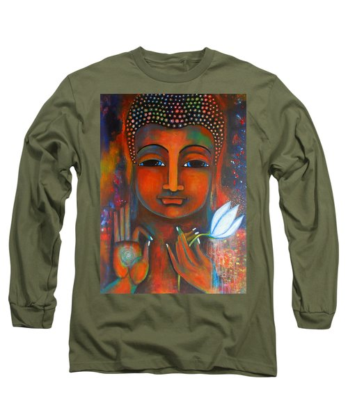 Buddha With A White Lotus In Earthy Tones Long Sleeve T-Shirt by Prerna Poojara
