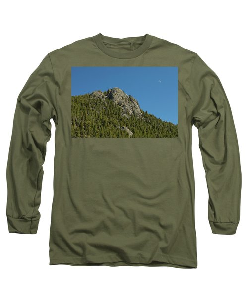 Long Sleeve T-Shirt featuring the photograph Buffalo Rock With Waxing Crescent Moon by James BO Insogna