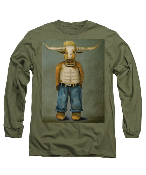 Long Sleeve T-Shirt featuring the painting Bull Denim by Leah Saulnier The Painting Maniac