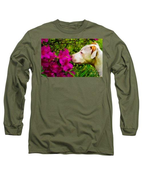 Bulldog Flowers Long Sleeve T-Shirt