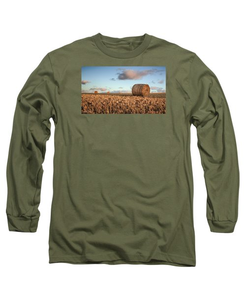Bundy Hay Bales #7 Long Sleeve T-Shirt by Brad Grove