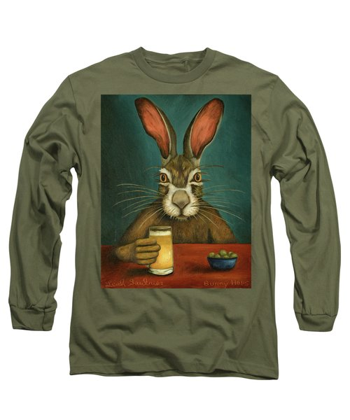 Long Sleeve T-Shirt featuring the painting Bunny Hops by Leah Saulnier The Painting Maniac