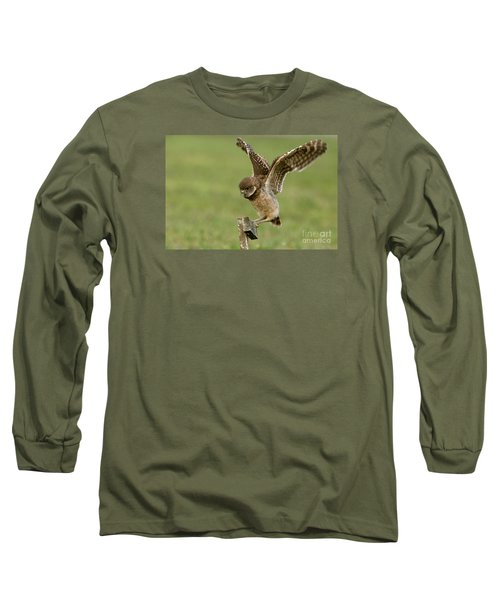 Burrowing Owl - Learning To Fly Long Sleeve T-Shirt by Meg Rousher