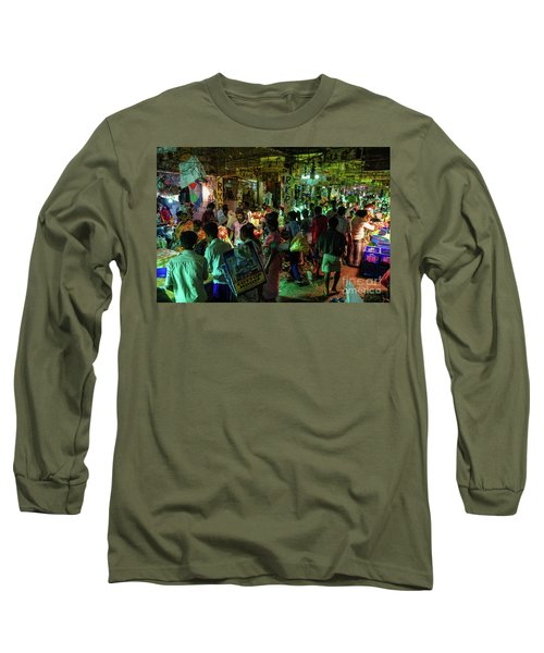 Long Sleeve T-Shirt featuring the photograph Busy Chennai India Flower Market by Mike Reid