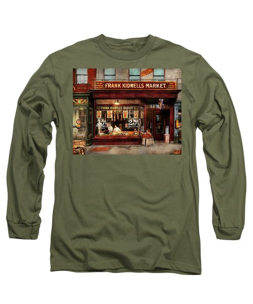 Long Sleeve T-Shirt featuring the photograph Butcher - Meat Priced Right 1916 by Mike Savad