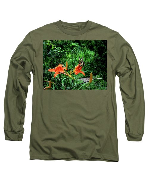 Long Sleeve T-Shirt featuring the photograph Butterfly And Canna Lilies by Cathy Harper