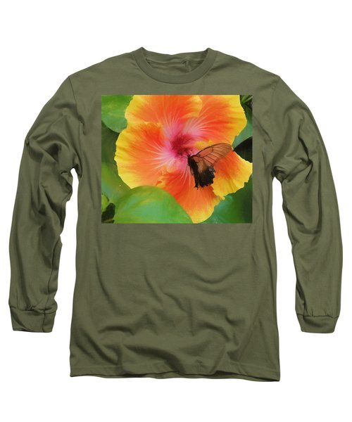 Long Sleeve T-Shirt featuring the photograph Butterfly Botanical by Kathy Bassett