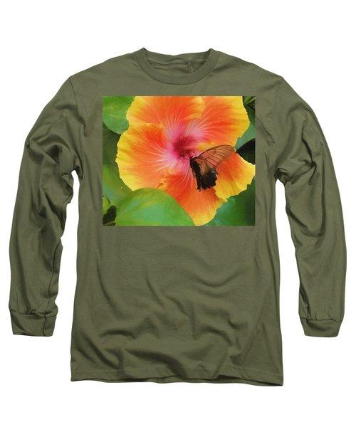 Butterfly Botanical Long Sleeve T-Shirt by Kathy Bassett