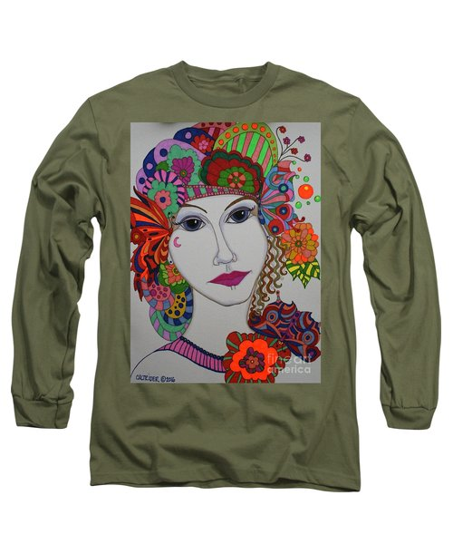 Long Sleeve T-Shirt featuring the painting Butterfly Girl by Alison Caltrider