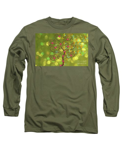 Butterfly Of Heart Tree Long Sleeve T-Shirt by Kim Prowse